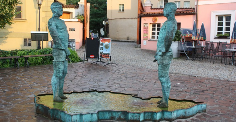 Two men urinating (David Cerny), Prague