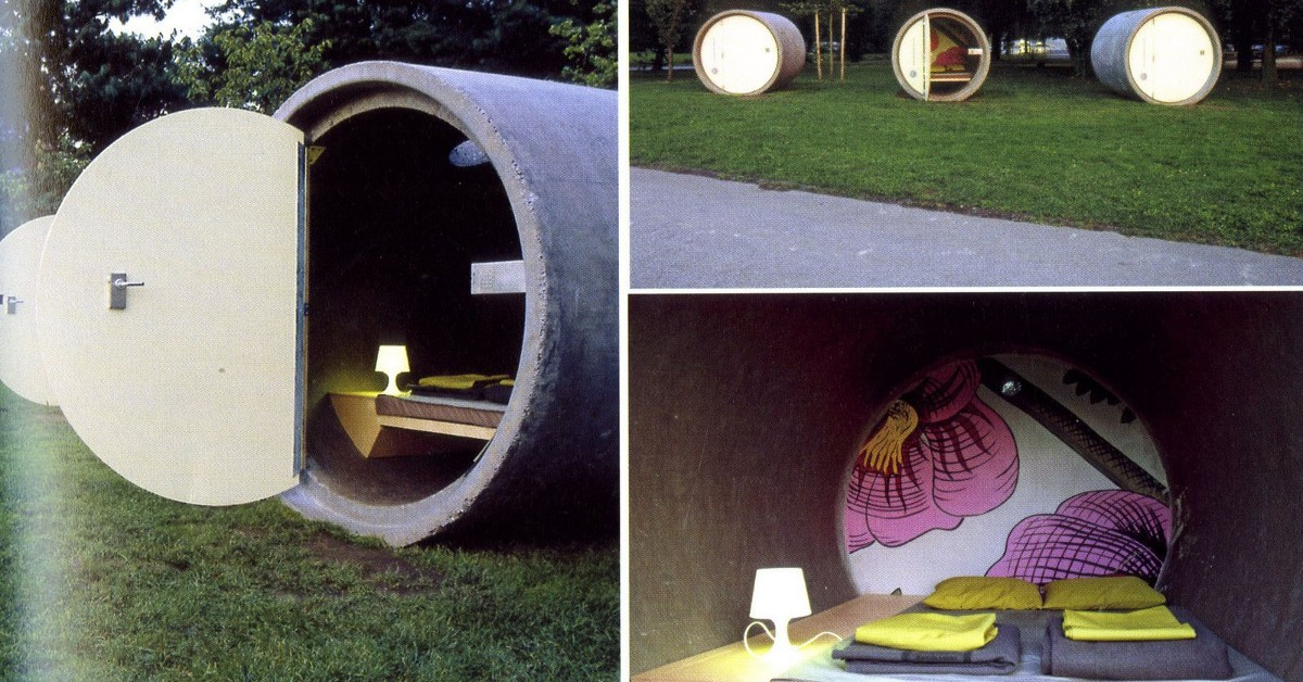 """Dans un cylindre en béton en Autriche Le Park Hotel en Autriche propose des chambres des plus cocasses car elles sont en réalité de gros cylindres en béton de 9 tonnes chacun. Posé en plein milieu de la campagne, chaque cylindre dispose du strict minimum niveau confort. Pour la douche, ce sera de l'eau froide et dehors d'ailleurs ! Certains y voient en revanche un retour à la nature, avec une petite touche """"éco-chic"""" bien tendance."""
