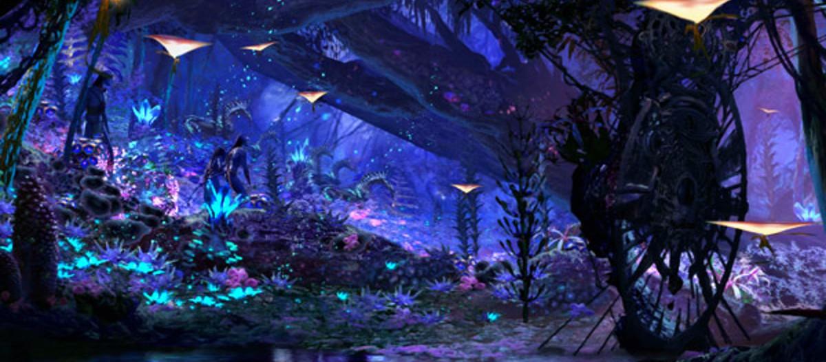 Un paysage de nuit qui fait rêver   Si vous rêviez de passer une nuit sur Pandora, sachez que le parc vous offrira une visite merveilleuse. En effet, le décor intérieur de l'attraction est magnifique. Les couleurs sont aussi belles que dans le film, et les animaux seront bien présents et même animés ! Et si on prenait nos prochaines vacances sur la planète des Na'vis ?   © Parc Avatar Orlando - Disney