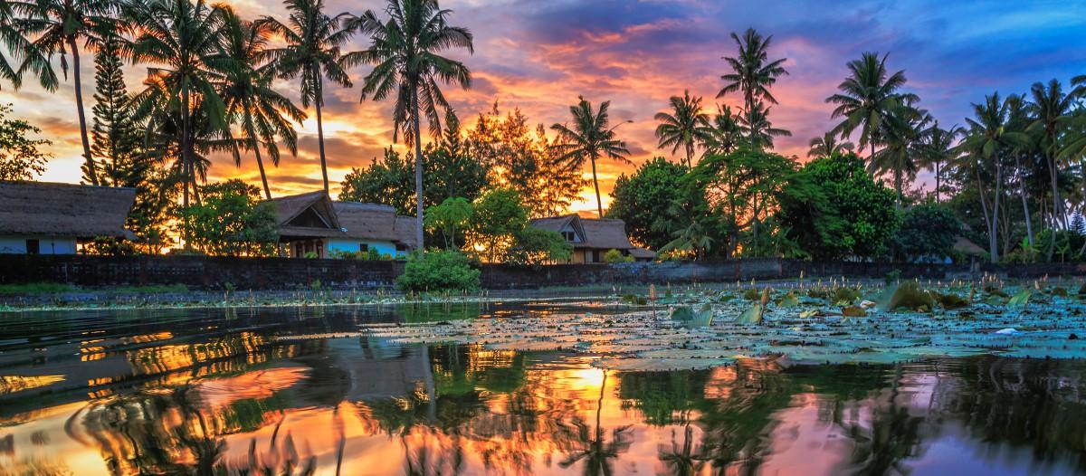 Bali, Indonésie Cette sublime villa de luxe située à Bali est une location de rêve ! Grande, très grande même, elle offre des prestations élevées : piscine privative, 3 chambres avec salle de bains, petit-déjeuner préparé chaque matin par l'équipe sur place, très grande pièce à vivre.... le luxe à prix réduit dans un écrin de verdure.