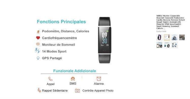 Montre connectée multi-fonctions (Amazon.fr)
