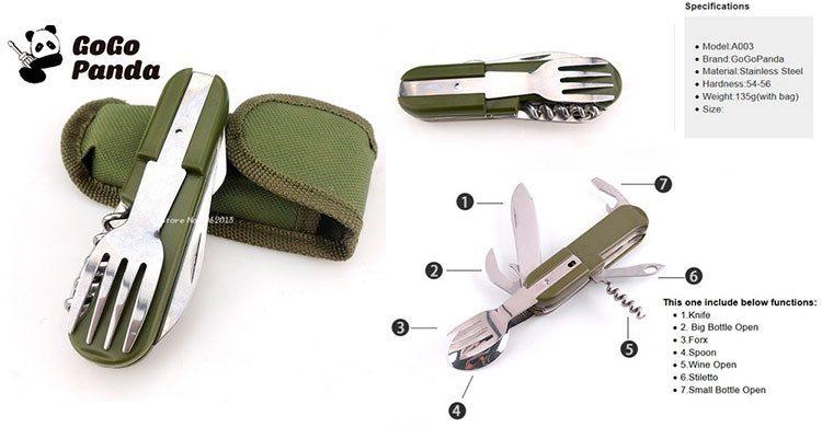Couteau Multifonctionnel Pliant En Acier Inoxydable (AliExpress.com)