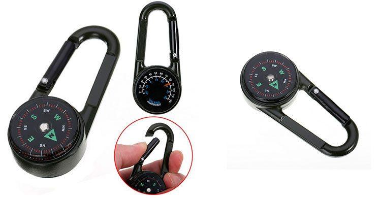 Multifonctionnel Mini 3in1 Mousqueton Boussole Thermomètre Porte-clés (AliExpress.com)